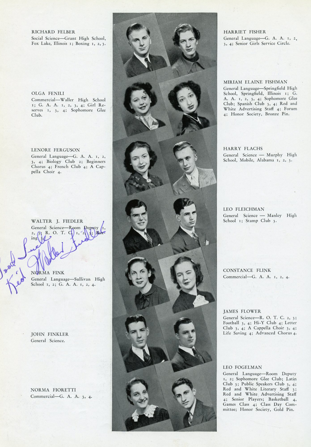 1937 Chicago Lake View High School Yearbook Page 182