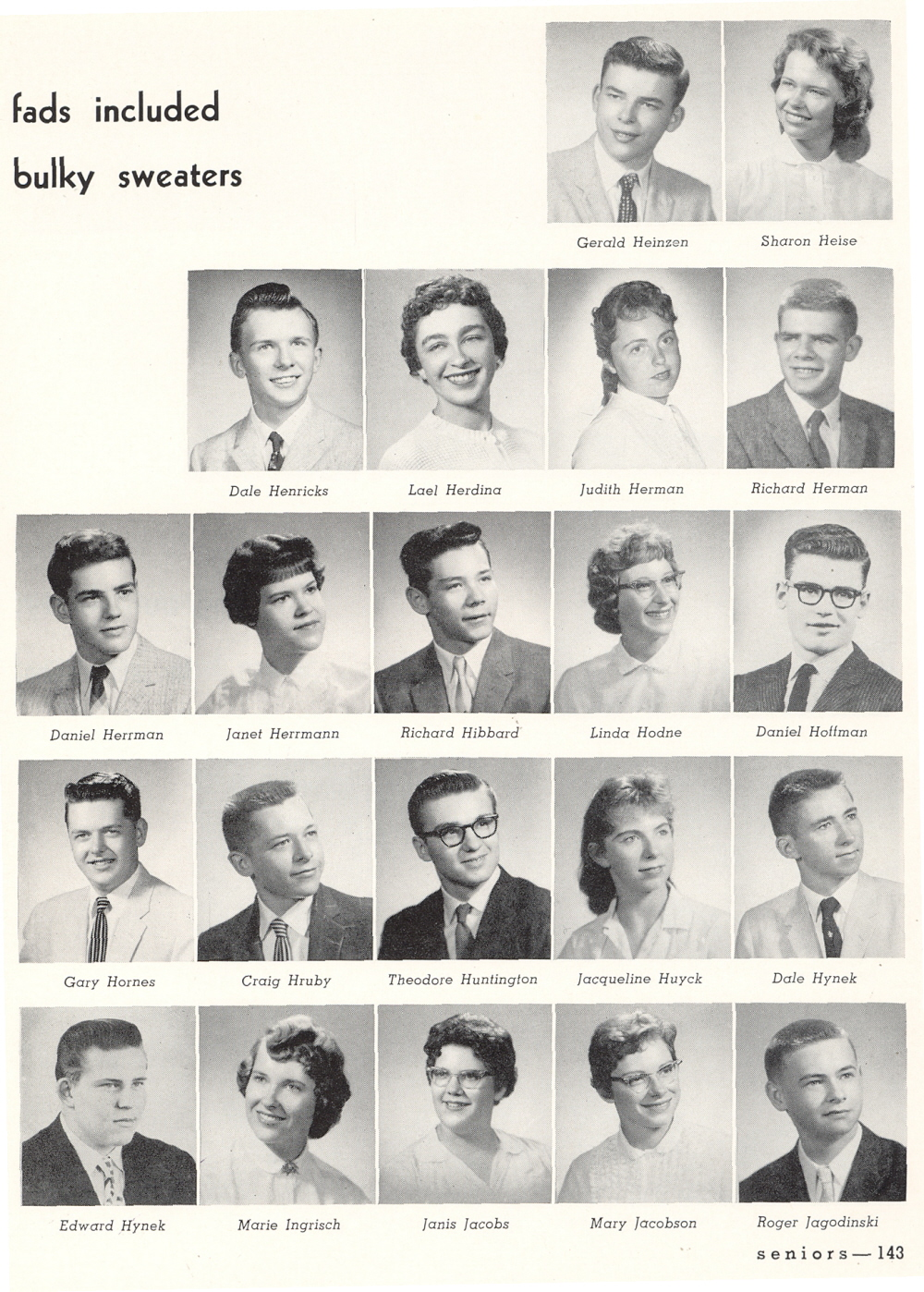 1960 Manitowoc Lincoln High School Yearbook and Students Daniel Craig
