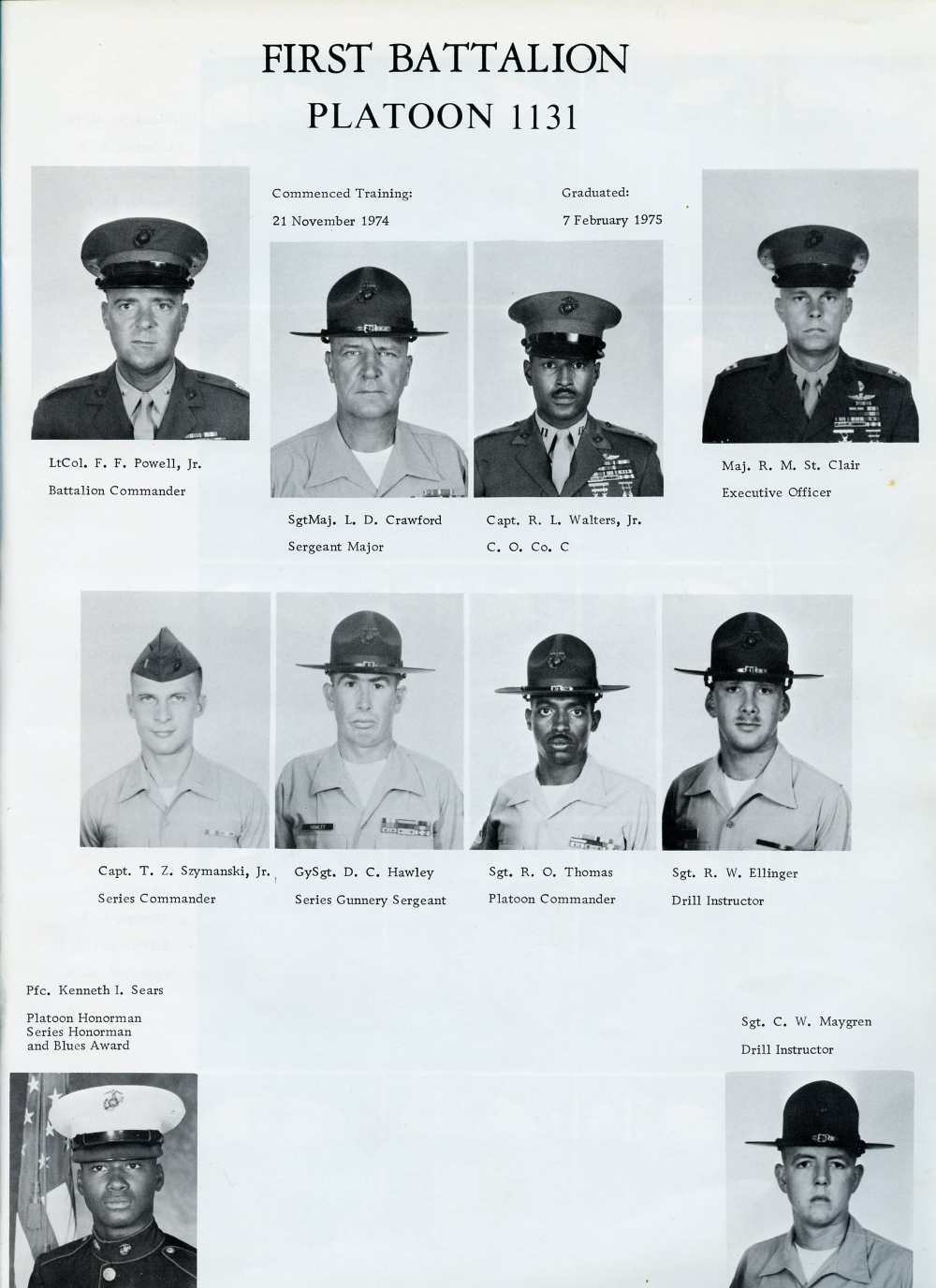1975 Marine Corps Recruit Depot First Battalion Platoon ...